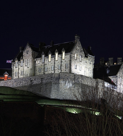 Edinburgh Castle at night. Jewellery Valuation in Edinburgh